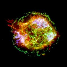 Exploded Star Detailed in New X-ray ImageCredit: NASA/CXC/GSFC/U.Hwang et al.In the new Chandra image of Cassiopeia A, gas billowing out from the supernova remnant is superheated, causing it to glow in X-rays. A reddish-colored jet of superfast matter can be seen shooting out of the upper left. A second jet, not notable in this image, was ferreted out in other data collected during the same observations.