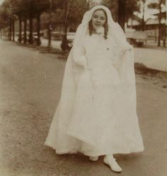 Vintage French Photograph  Girl in Confirmation / by ChicEtChoc, $3.00