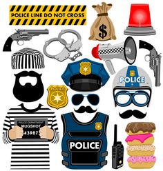 Police Inspired Photo Booth Props Download | picwrap - Digital Art on ArtFire