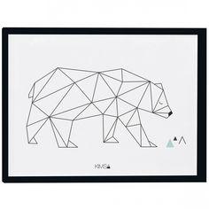 Le poster géométrique ours Origami play by Claudia Soria pour Lilipinso apporte une touche de modernité à une chambre d'enfant.
