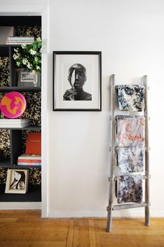 Ladder to display textile collection. HOUSE TOUR: A Pair Of Philly Transplants Make A Cozy Home In Brooklyn's Crown Heights