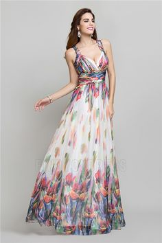 A-Line/Princess V-neck Straps Floor-length Prom Dress With Pattern/Print Ruching