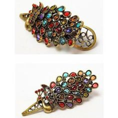 Retro Colorful Vintage Alloy Crystal Jewelry Peacock Hairpin Hair Clip Bronze