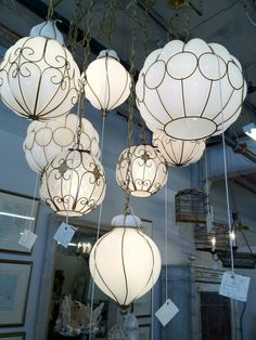 Wow! Clusters of vintage Murano glass pendants.