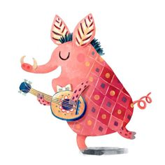 Random fact -I\'m very bad at singing :) . . . . . #oaxacadesert #artlicensing #pig #kidlitart #childrenwritersguild #childrensillustration #printandpattern #surfacedesign #surtex #illustration #moreillustrations #artforkids #thehappynow #thatsdarling #colorlove #cuteanimal