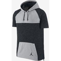 Jordan Short-Sleeve Pullover Men's Hoodie (€76) ❤ liked on Polyvore featuring men's fashion, men's clothing, men's hoodies, mens hooded sweatshirts, mens sweatshirts and hoodies, mens hoodies and mens hoodie