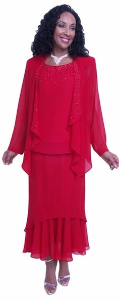 8d7cab58022 Hosanna 3671 - Chiffon Tea Length Plus Size Dress Red