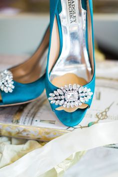 Glittery satin pumps by Badgely Mischka. Photo by Mon Petit Studio.
