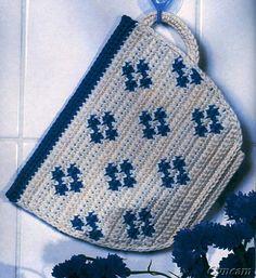 Bilderesultat for crochet potholders Crochet Potholder Patterns, Crochet Dishcloths, Crochet Motif, Crochet Doilies, Crochet Flowers, Chat Crochet, Crochet Home, Filet Crochet, Easy Crochet