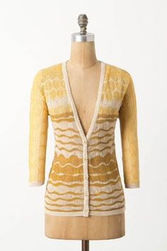 Anthropologie Charlie & Robin Ombre Breakers Yellow Cardigan