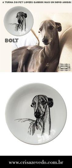 Esse é o Bolt, um simpático galgo que ganhou espaço na Galeria dos Pet Lovers Dogs. Prato em porcelana decorado com desenho autoral Studio Cris Azevedo. Prato com 30 cms de diâmetro.
