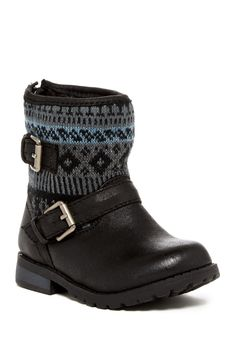 Knit Shaft Faux Shearling Buckle Boot (Toddler)