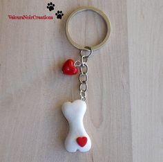 Portachiavi osso per cane in fimo, by Velours Noir Crèations, 10,00 € su misshobby.com