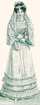 Journal des Dames 1823. By 1823 t fashion had changed and now dictated long sleeves worn with mittens rather than gloves. The sprigged white gown is trimmed with a double lace flounces and a lace trimmed veil, white mittens and white kid slippers complets the picture.