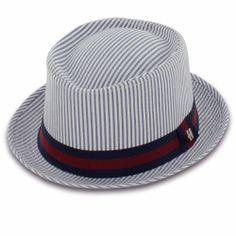 44172e3c7e6 Belfry Emerson - Seersucker Pork Pie Hat Fadora Hats
