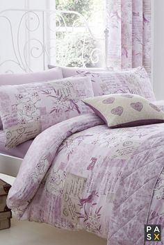 vintage patchwork floral lilac heather duvet cover
