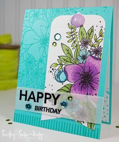 Gorgeous floral card featuring Concord & 9th 'Hello Lovely' clear stamp set and Copic markers! Secretbees Studio: Birthday Card For Mom!