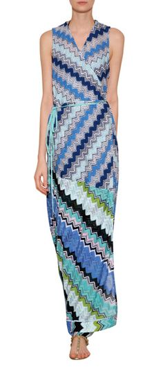 Pretty aqua and turquoise knit patterning lends a tropical look to this knit maxi dress from Missoni Mare #Stylebop
