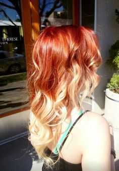 bright red to blonde ombre hair Blonde Ombre Hair, Red To Blonde, Blonde Tips, Short Red Hair, Haircut And Color, Red Hair Color, Ginger Hair, Dyed Hair, Locks