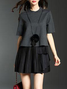#AdoreWe #OOTD MULTIFLORA Crew Neck Pleated Half Sleeve Cotton-blend Simple Mini Dress - AdoreWe.com