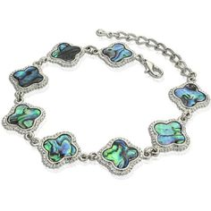 Abalone Shell & Mother of pearl Double Sided Bali Flower Bracelet