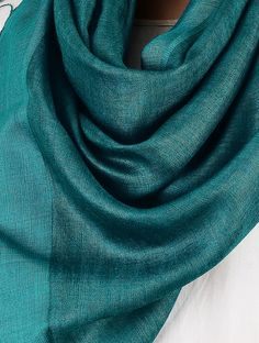 Buy Teal Tussar Silk Stole Online at Jaypore.com