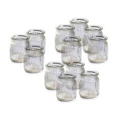Windlicht 12 Stück Glas klar ca D:7 x H:9 cm
