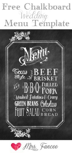 Chalkboard Wedding Menu Template ~ download and customize for free | Mrs. Fancee