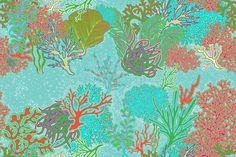 Coral Reef Fabric by Hollyce Jeffriess by lookinglasshouse on Etsy
