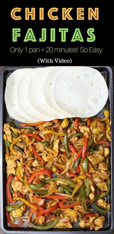 Baked Chicken Fajita – one of the easiest healthy dinner recipes. Yellow, red and green peppers, sliced onions and chicken breasts, mixed with some simple spices (ground cumin, chili powder, garlic powder, salt and olive oil). Perfectly baked in the oven, and served on flour tortillas. Simply Yummy! Make-ahead recipe. Quick and easy dinner recipe. | tipbuzz.com