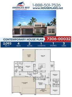 Covered in Contemporary details, Plan 7306-00032 gives you 2,093 sq. ft., 4 bedrooms, 2.5 bathrooms, a kitchen island, an open floor plan, and an office. Find more details about this Contemporary design on our website. Contemporary House Plans, Contemporary Bathrooms, Contemporary Design, Building Stairs, Floor Plan Drawing, Floor Framing, Construction Cost, Best House Plans, Flat Roof