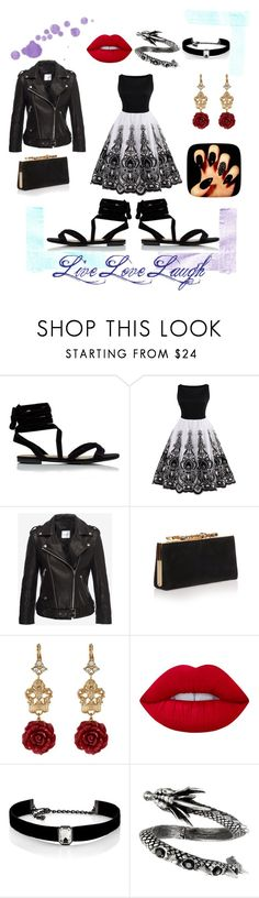 """""""Back in Black"""" by kathy1235 on Polyvore featuring Jimmy Choo, Dolce&Gabbana, Lime Crime and Kenneth Jay Lane"""