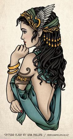 Greek Goddess by sam phillips Trendy Tattoos, Love Tattoos, Beautiful Tattoos, New Tattoos, I Tattoo, Gypsy Tattoos, Arabic Tattoos, Dragon Tattoos, Gypsy Tattoo Sleeve