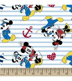 Disney Captain Mickey Minnie Cotton Fabric