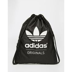 adidas Originals Gymsack in Black ($21) ❤ liked on Polyvore featuring bags, backpack, black, gym bag, rucksack bag, polyester backpack, adidas backpack and knapsack bags