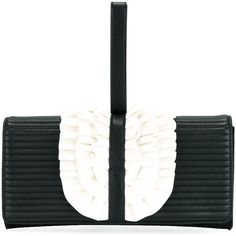 Boutique Moschino Ruffled Trim Clutch Bag (15.975 RUB) ❤ liked on Polyvore featuring bags, handbags, clutches, white handbags, white purse, ruffle handbags, boutique moschino and ruffle purse