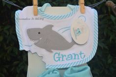Shark bib personalized monogram Shark baby by PersonalizeItBABY, $17.95