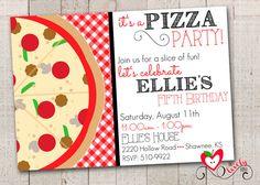 Pizza party invitation Pizza invitation Pizza birthday card Girls ...