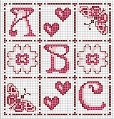 ♥ ♥ cross stitch Archives: ABC HEARTS, FJÄRIL.BLOMMOR-CROSS STITCH PATTERN