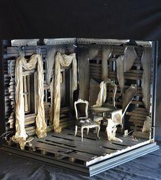 bjd-dioramas:  1/6 Scale Dilapidated Corner Room