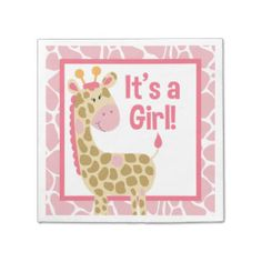 Pink Giraffe It's a Girl Baby Shower Napkins Paper Napkins