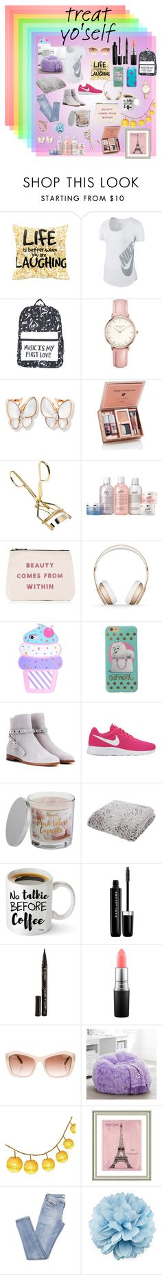 """""""Treat yo'self"""" by dougging ❤ liked on Polyvore featuring NIKE, Topshop, ALPHABET BAGS, Beats by Dr. Dre, Valentino, SONOMA Goods for Life, Marc Jacobs, Smith & Cult, MAC Cosmetics and Chanel"""