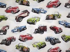 Vintage Cars on Ivory Print Pure Cotton Fabric--One Yard