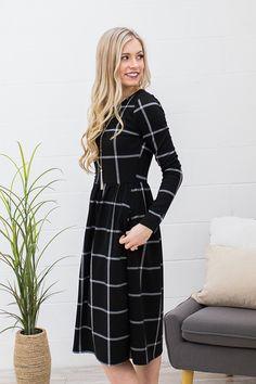 Bethani Window Pane Dress in Black