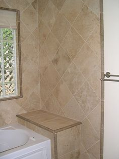 Diagonal wall Tile with bath seat