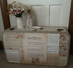 Vintage Suitcase ~ Shabby Chic Floral & Sheet Music