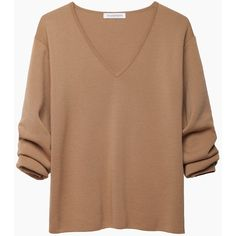 J.W. Anderson Gathered Sleeve V-Neck (£155) ❤ liked on Polyvore featuring tops, sweaters, shirts, long sleeves, ruched shirt, camel sweater, long sleeve half shirt, long sleeve sweaters and vneck sweater