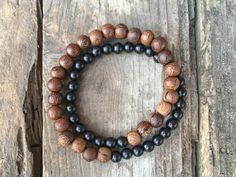 Black Onyx Gemstone Wood Bead Bracelet Handmade Palo Santo Detroit Mala Yoga Meditation Minimalist Standing Rock Water Chakra Love Light