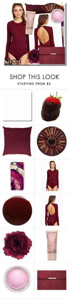 """""""SheIn Burgundy Ribbed Knit"""" by sweetcheeksgurl8 ❤ liked on Polyvore featuring Missoni, Casetify, Deborah Lippmann, Accessorize, MAC Cosmetics, Dorothy Perkins, Summer, Spring, 2017 and shein"""