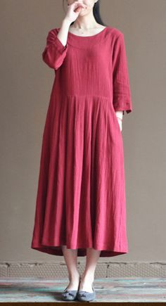 2016 red linen dress. long sundress plus size summer maxi dresses loose linen clothing
